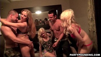three girls sharing two big dicks at a party