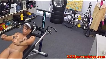 black fitness babe facialized in the.