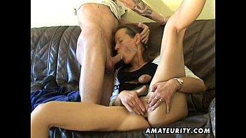 amateur milf toys her pussy, sucks and fucks.