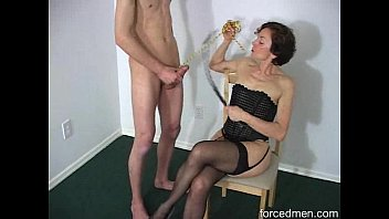 oldie mistress demands man to masturbate before she.