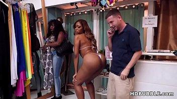 booty black babe fucks in the bikini shop.