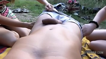 outdoor german anal creampie with two.
