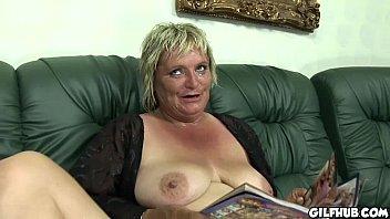 horny old har reading porno magazine before she.