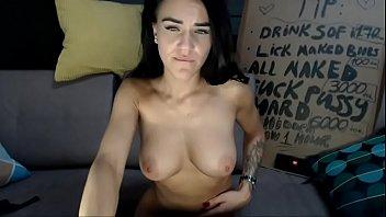 hot slut with big tits masturbates until she.