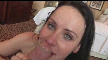 pretty blue eyed girl swallows cum