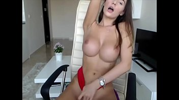 perfect babe fucks her pussy with perfect tits.