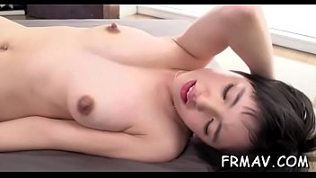 asian playgirl toys her pussy before giving randy blowjob