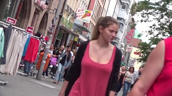 busty german teen candid bouncing boobs in red.