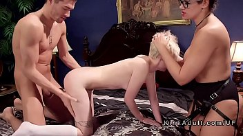 mom takes girl for threesome anal.