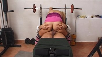 young slut in the gym sucks the cock.