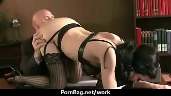 office assistant shows her boss her.