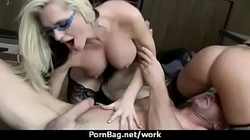 busty chick is desperate for a raise and.