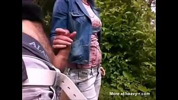 girl jerks guy off outside -.