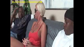 blonde milf sucks two blacks