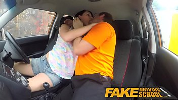 fake driving school messy creampie climax for sexy.