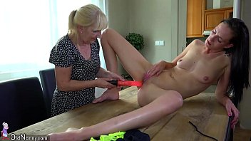 old lady and cute girl masturbating with dildo.