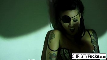 christy mack the pirate plays with her amazing.