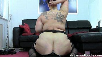 german bbw jill riding a huge long black dildo