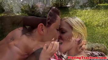 cute lez babe gets fistfucked outdoors