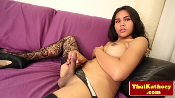 busty amateur ladyboy in stockings solo.