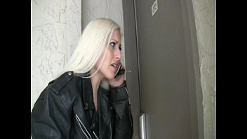 blond girl pees her spandex leggings.