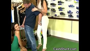 brunette bimbo serena torres sucking dick during cash stunt