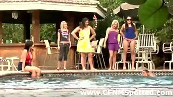 group of classy cfnm girls humiliate guys by pool