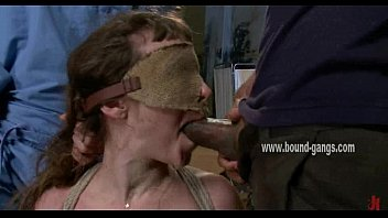 blindfolded and horny bitch with a flat chest.