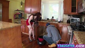 teen brunette blowjob plumber riding big.