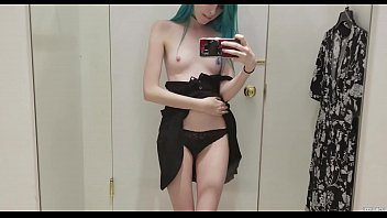 horny emo teen with blue hairs undressing at daddys bedroom