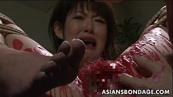 asian babe get her privates covered.