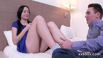 lover assists with hymen examination and poking of.