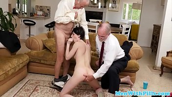 young babe sucks oldmans cock before.