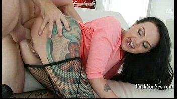 tattooed beauty having sex from the kitchen to.