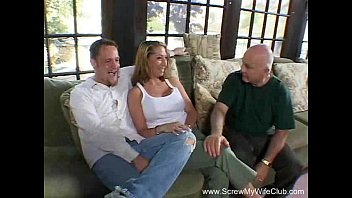 swinger wife fucks three guys at once while.