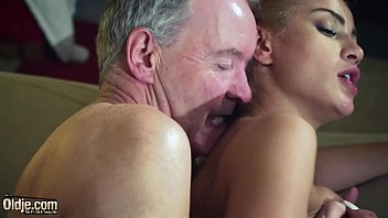 old man dominated by sexy hot babe in.