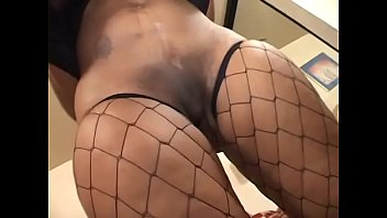 ebony bitch in fishnet takes big.