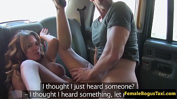 busty female cabbie rides male client.