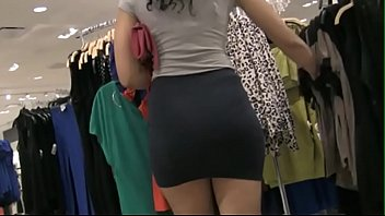 lycra skirt sexy nice ass stuck.