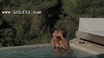 brunett lesbians make love in the.
