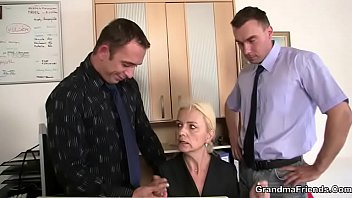 she pleases two dicks at job.