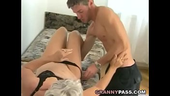 hairy grandma takes huge young cock