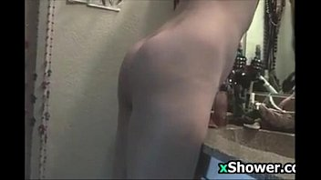 cute girl washes and gets ready for the day
