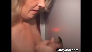 blonde amateur sucks dick and takes cumshot through.