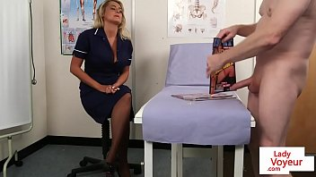 gorgeous uk nurse helps patient shoot.