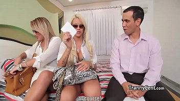 crazy orgy with two hot shemales