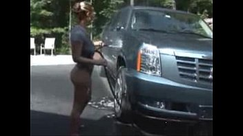 hot gf with big natural breasts washing her car
