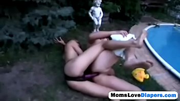 blonde milf fucking her boy right in the garden