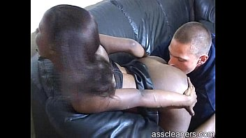 ebony mistress bends over to get her ass licked