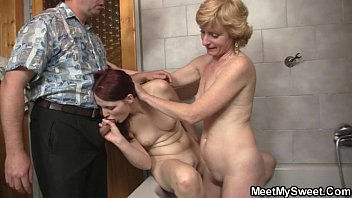 his old dad plows her pussy after mom.
